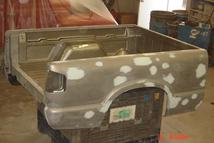 The body shop at Southern Truck prepares this Texas rust free Chevy S10 shortbox for the paint shop.