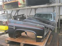 1981 1982 1983 1984 1985 1986 1987 Chevrolet GMC front clip assembly, includes hood, fenders, grille, headlights, inners.  Some scratches, scuffs & chips in paint.  Overall good condition.  Reference inventory #10523 when inquiring.
