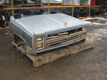1973 1974 1975 1976 1977 1978 1979 1980 1981 1982 1983 1984 1985 1986 1987 Chevrolet  GMC front clip assembly, fair condition, normal dents & scratches, grille is broken.  Reference inventory #10758 when inquiring.