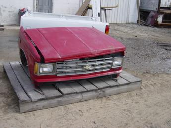1982 1983 1984 1985 1986 1987 1988 1989 1990 1991 1992 1993 Chevrolet S10 front clip assembly.  Nice condition, Dent on top of right fender, no rust, paint is faded.